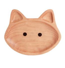 Wood Kids Plate - Cat