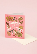 Happy Birthday (Coral Tropical Plants) Greeting Card