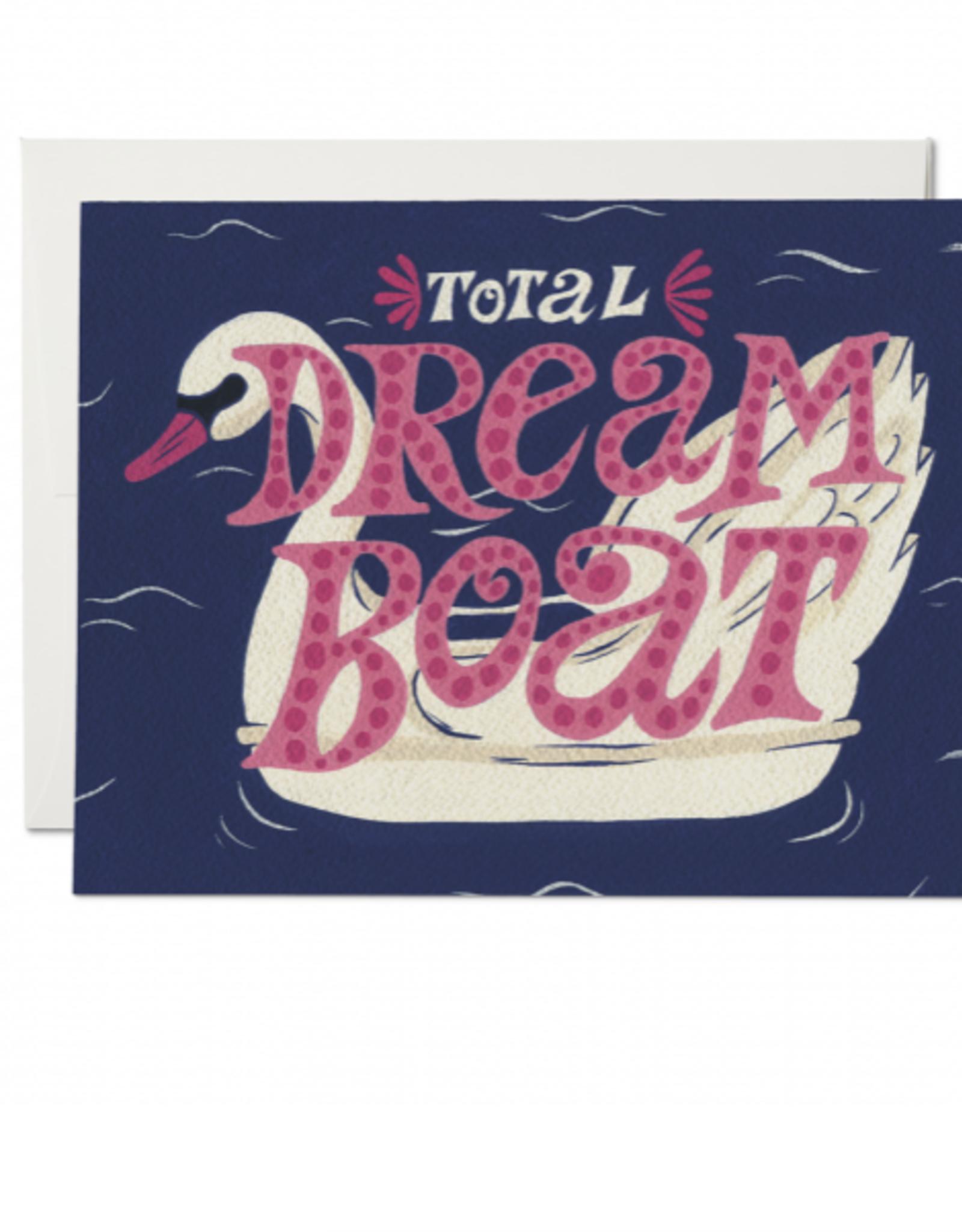 Total Dream Boat Swan Greeting Card