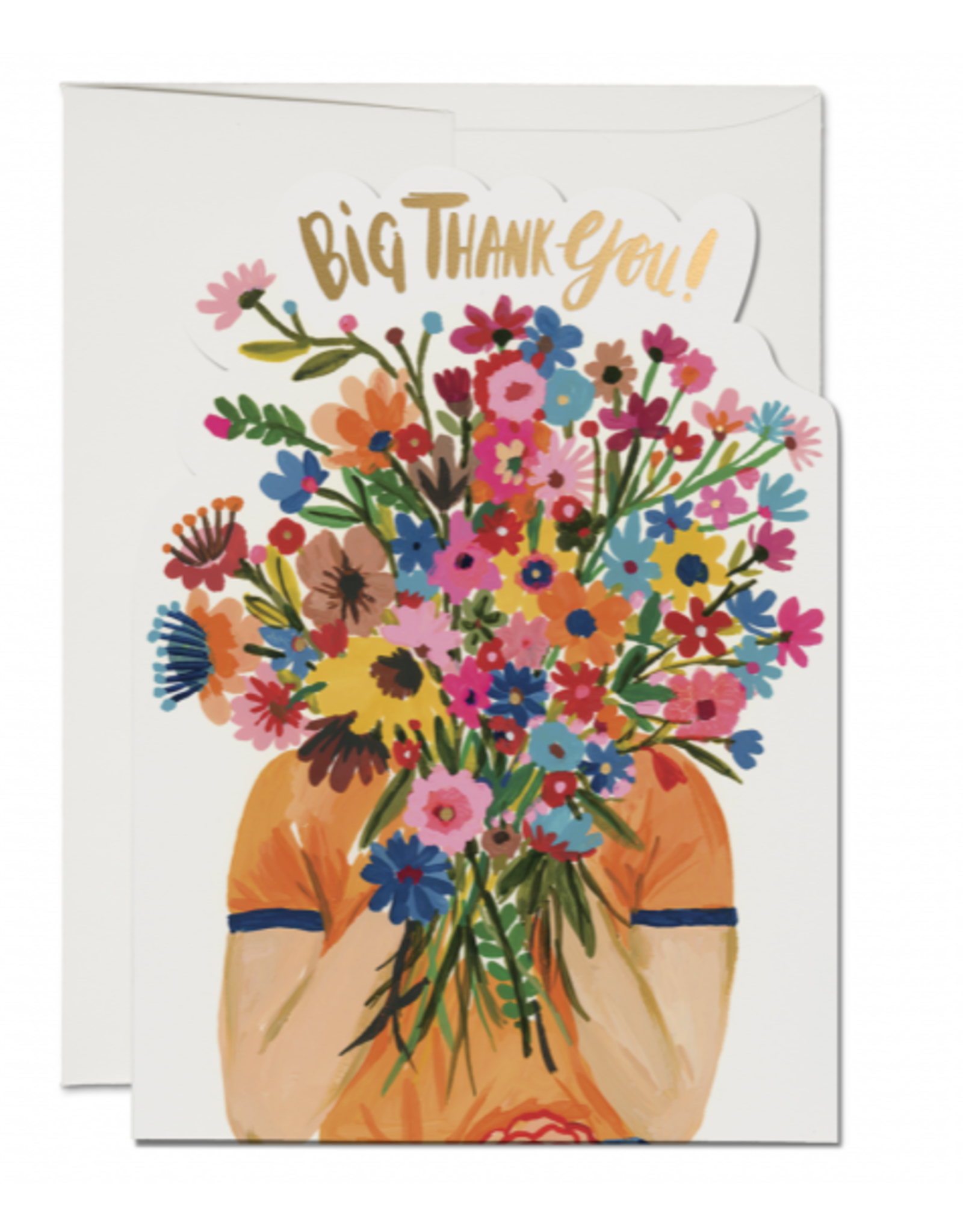 Red Cap Cards Face Full of Flowers Big Thank You Greeting Card