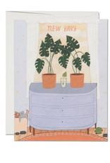 Nursery Plants New Baby Greeting Card