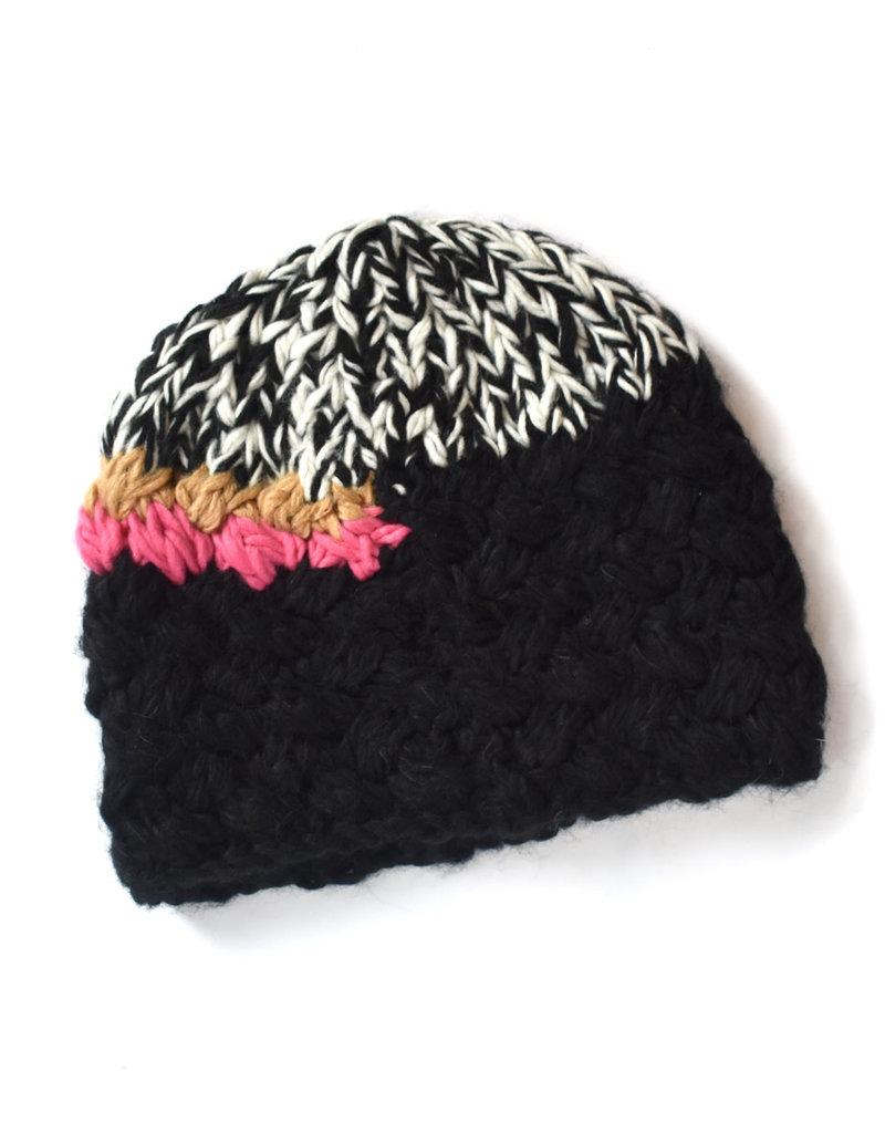 Knit Bon Bons Melange Hand Crochet Hat