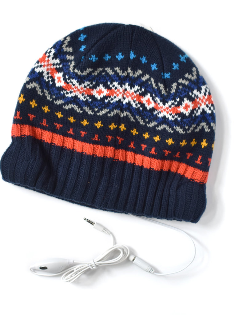Knit Bon Bons Jacquard Headphone Beanie