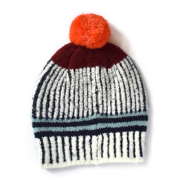 Knit Bon Bons Vertical Stripe Pom Hat