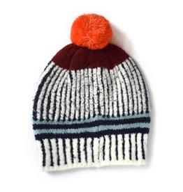 Vertical Stripe Pom Hat