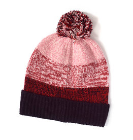 Knit Bon Bons Marled Wool Colorblock Hat