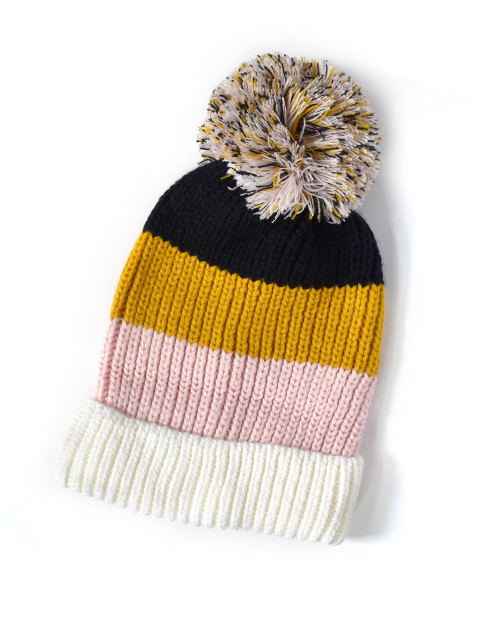 Knit Bon Bons Colorblock Pom Hat