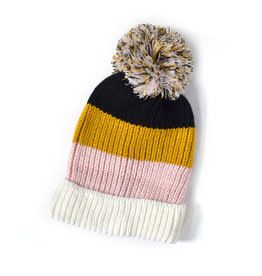Knit Bon Bons Colorblock Pom Hat