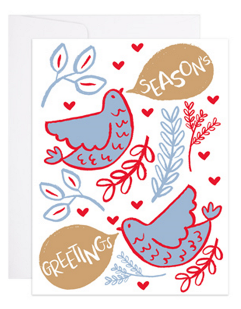 9th Letter Press Seasons Greetings French Hens Greeting Card