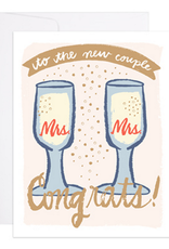9th Letter Press Mrs. & Mrs. Champagne Flutes Greeting Card