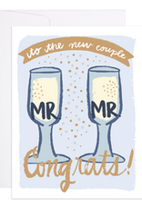 9th Letter Press Mr. & Mr. Champagne Flutes Greeting Card