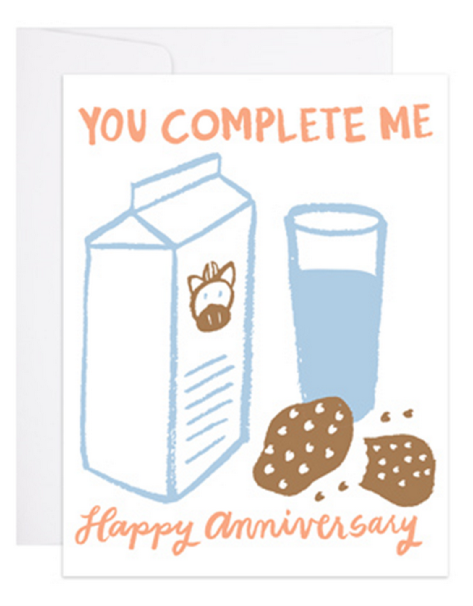 9th Letter Press You Complete Me. Happy Anniversary (Milk & Cookies) Greeting Card
