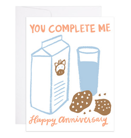 You Complete Me. Happy Anniversary (Milk & Cookies) Greeting Card