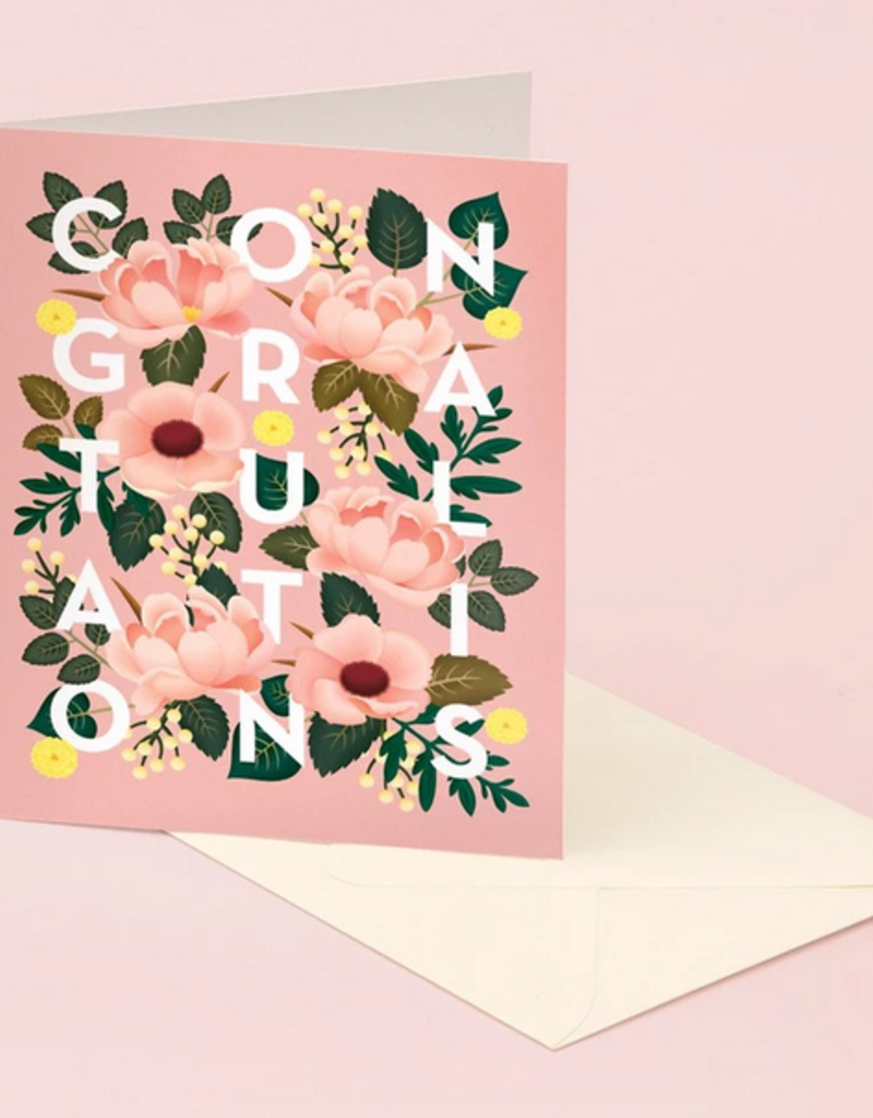 Clap Clap Designs Dusty Pink Floral Congratulations Greeting Card