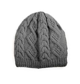 Merino Cable Knit Beanie (Grey)