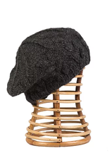 Knit Fleece-Lined Beret (Charcoal)