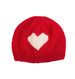 Padma Knits Wool Heart Beanie (Red)
