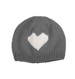 Padma Knits Wool Heart Beanie (Grey)