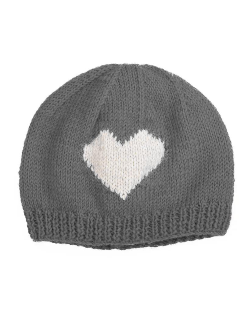 Padma Knits Wool Heart Beanie (Grey)