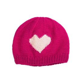 Padma Knits Wool Heart Kids Beanie (Pink)