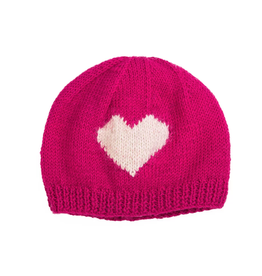 Wool Heart Kids Beanie (Pink)