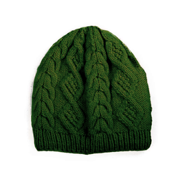 Padma Knits Merino Cable Knit Beanie (Green)