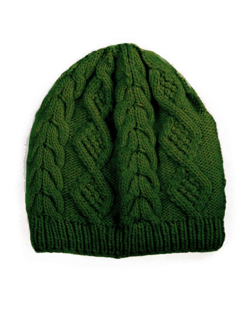 Padma Knits Merino Cable Knit Beanie (Green)