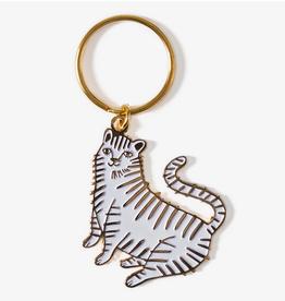 White Tiger Enamel Keychain