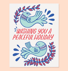 The Good Twin Co. Wishing You a Peaceful Holiday Doves Greeting Card