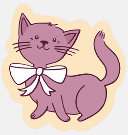 Kitty with White Bow Sticker