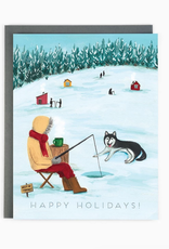 Happy Holidays Ice Fishing Greeting Card