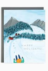 Happy Holidays Skiing Greeting Card