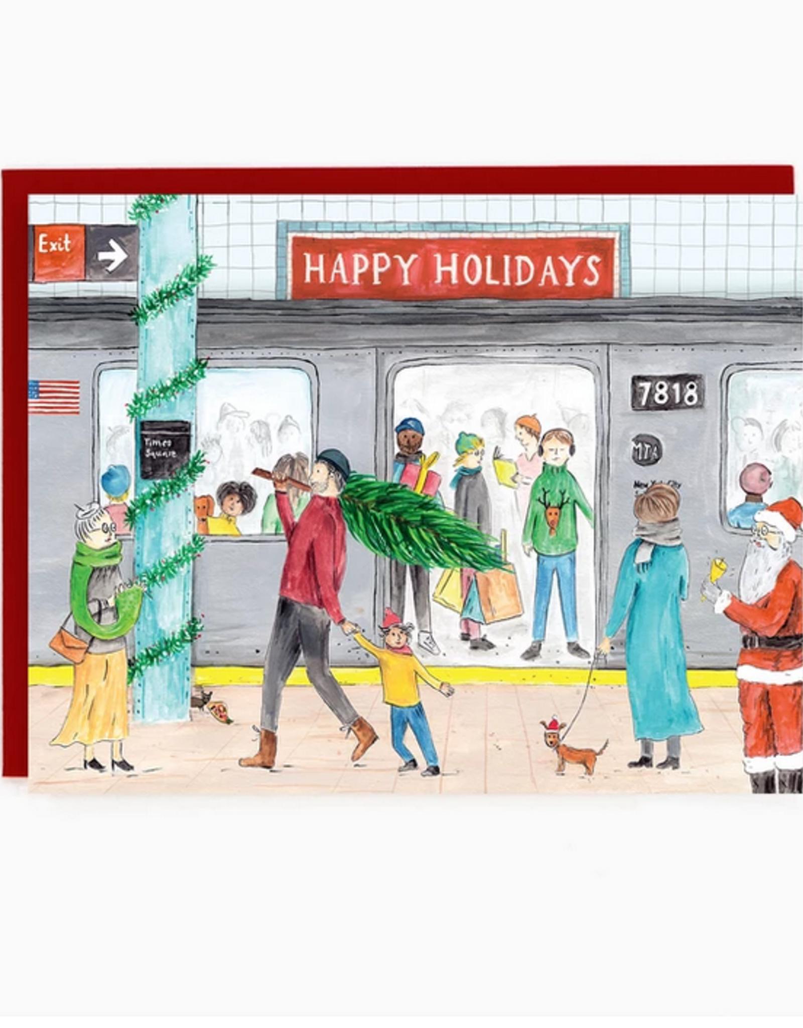 Happy Holidays Subway Greeting Card