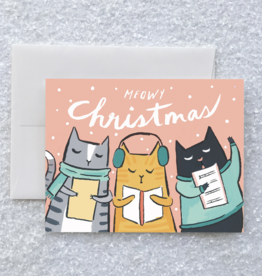 Meowy Christmas Kitty Carols Greeting Card