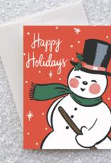 Happy Holidays Retro Snowman Greeting Card