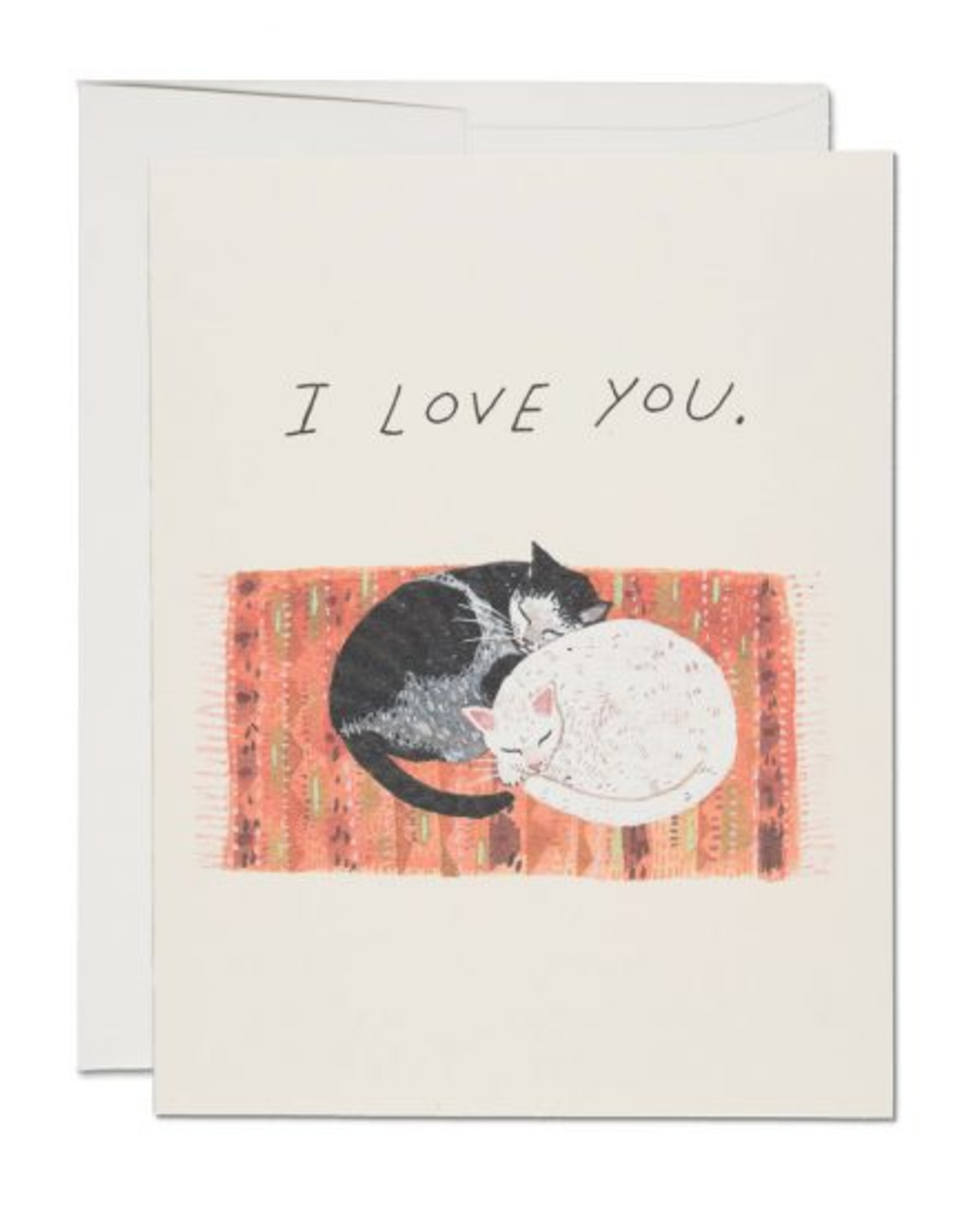 Red Cap Cards I Love You Cat Cuddles Greeting Card