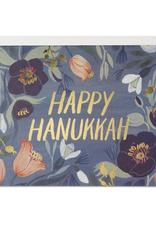 Red Cap Cards Happy Hanukkah Floral Greeting Card
