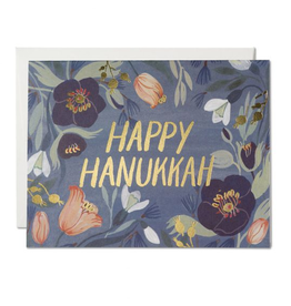 Red Cap Cards Happy Hanukkah Floral Greeting Card