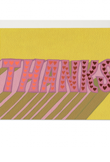 Thanks Hearts Retro Greeting Card
