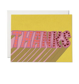 Red Cap Cards Thanks Hearts Retro Greeting Card