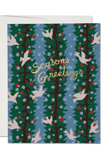 Seasons Greetings Holly Doves Greeting Card