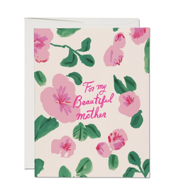 Red Cap Cards For My Beautiful Mother Floral Greeting Card