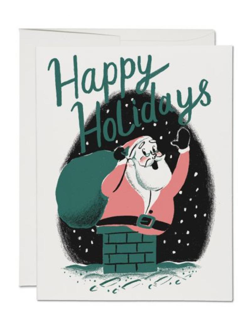 Red Cap Cards Happy Holidays Santa Chimney Box Set