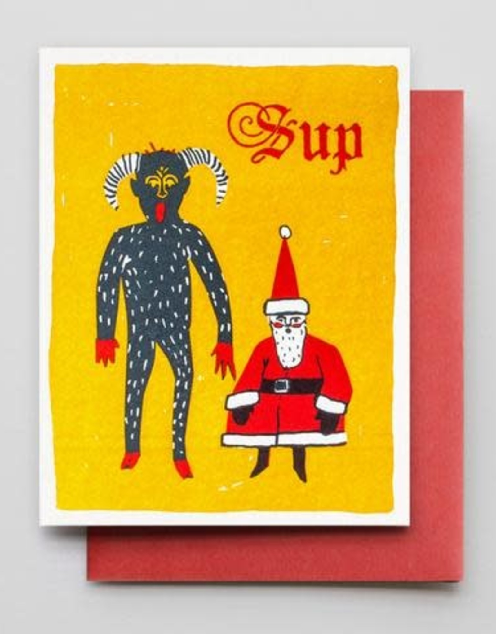 Sup (Krampus and Santa) Greeting Card