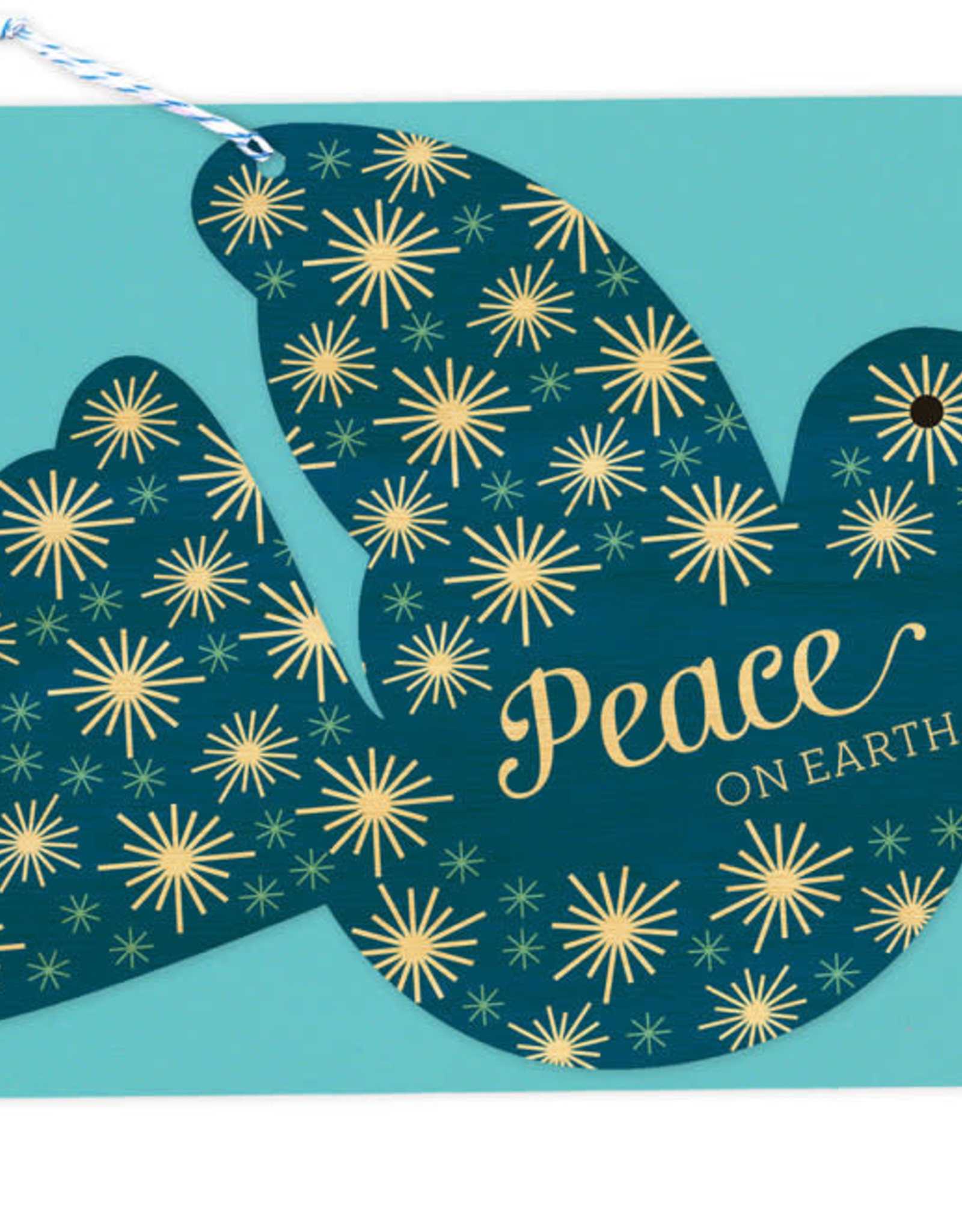 Peace on Earth Dove Wooden Ornament Holiday Greeting Card