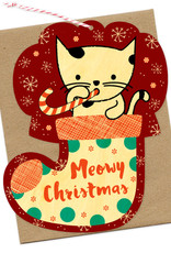 Kitty Stocking Wooden Ornament Holiday Greeting Card