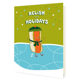 Night Owl Paper Goods Relish the Holidays (Hot Dog) Holiday Greeting Card