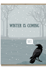 Modern Printed Matter Winter is Coming Raven Greeting Card