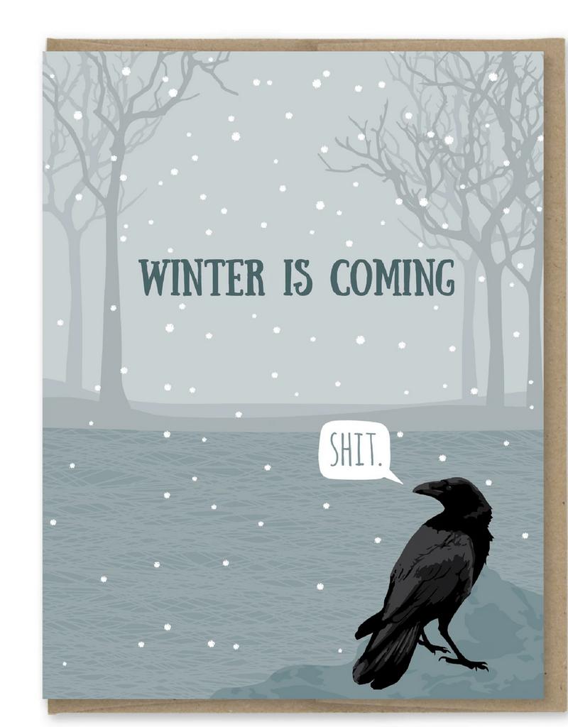 Modern Printed Matter Winter is Coming Raven Greeting Card