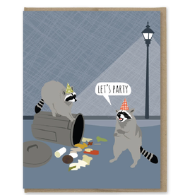 Let's Party Trash Raccoons Greeting Card